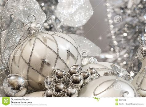 silver ivory christmas ornaments stock photography image