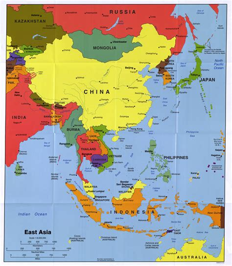 political map of southeast asia large detailed political map of east asia with major