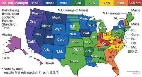 usa time zone map live poll closing times by state politico