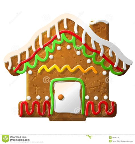 gingerbread house decorated colored icing stock vector