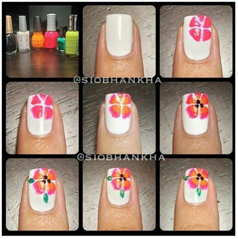 hibiscus nail art tutorial flower nail art tutorial nails pinterest flower nail