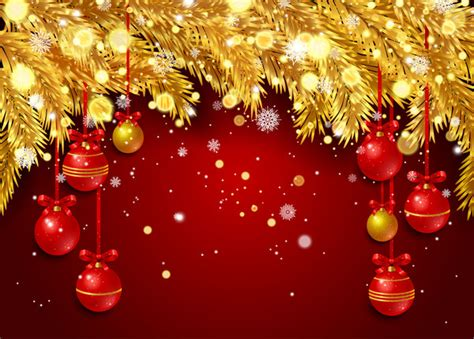 christmas ka wallpaper red christmas background with golden pine needles vector 01