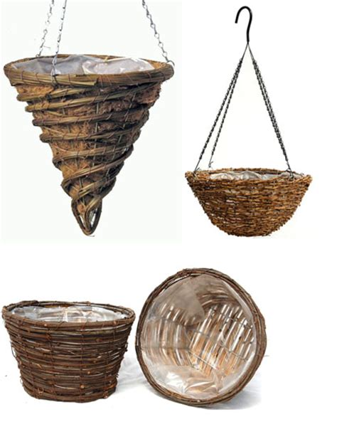 plant containers iron cocomoss rattan willow naturals
