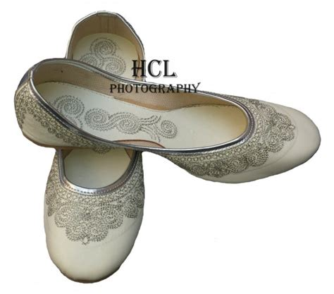 Handmade Wedding Shoes Uk - handmade leather bridal shoe white mojari by handcraftedluxury