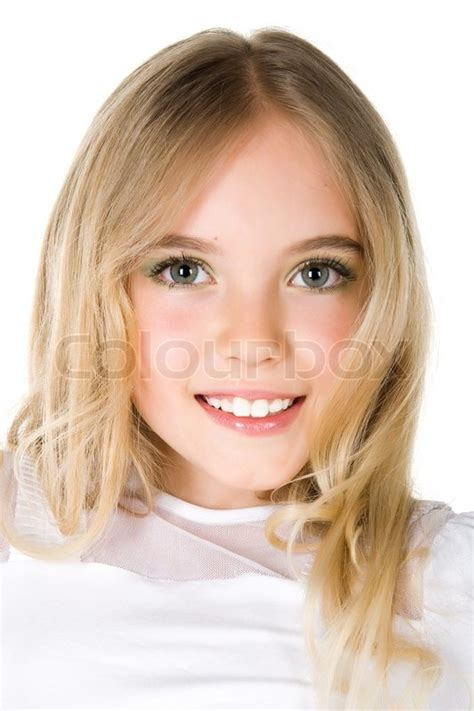 close up portrait of a beautiful little girl on white background stock photo colourbox