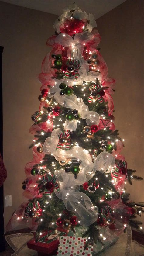 christmas tree mesh netting lighted tree with deco mesh what a beautiful glow time