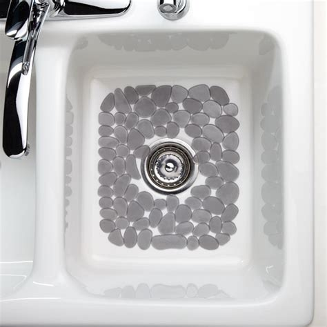 cut to size sink mat graphite pebblz sink mat the container store