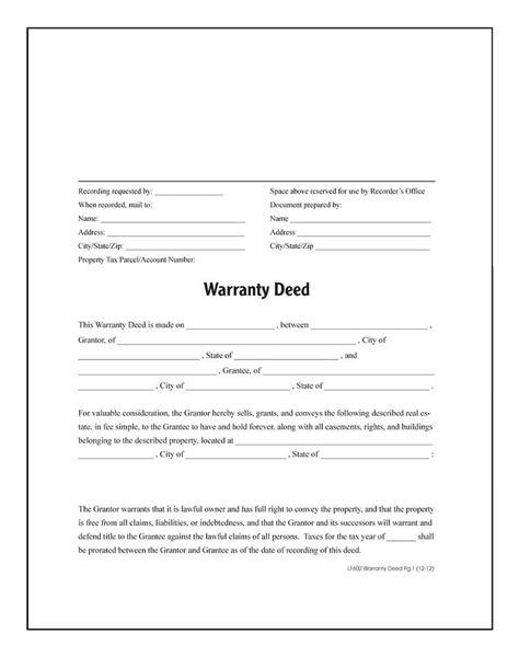 warranty deed form warranty deed forms and