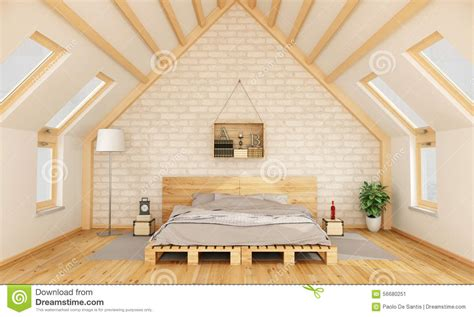 Apartment 3d Floor Plans Bedroom In The Attic Stock Illustration Illustration Of