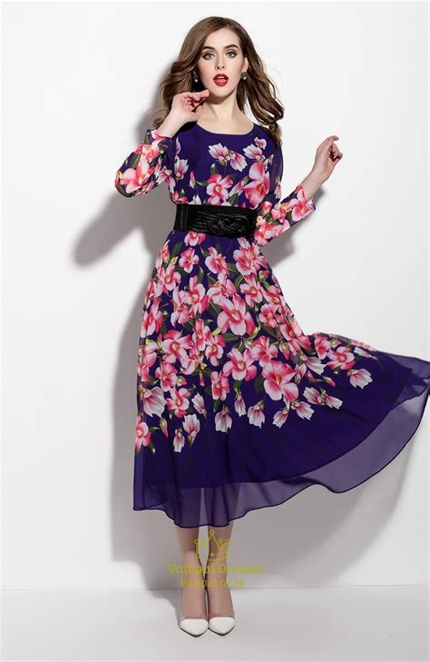 Floral Print Chiffon Dress purple floral print sleeve chiffon dress with belt