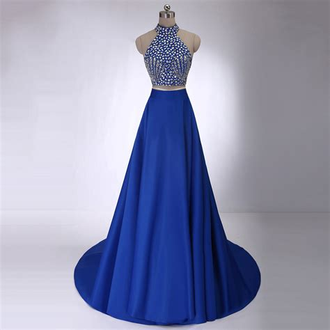 beaded high neck prom dresses royal blue crop top