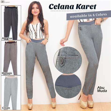 Celana Kerja Karet Wanita buy flat price celana kerja wanita berkualitas pinggang karet dan resleting tersedia warna