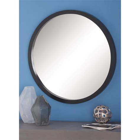 black mirror american american home 32 in modern round framed wall mirror in