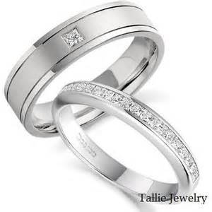 mens and womens matching wedding ring sets his hers mens womens matching 10k white gold wedding