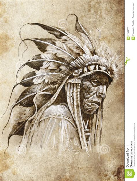 sketch of tattoo art native american indian stock