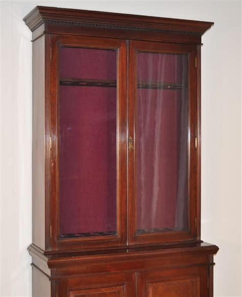 Large Gun Cabinet by Large Antique Mahogany 2 Glazed Door