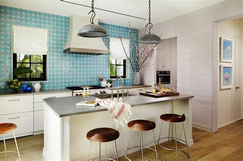 kitchen blue kitchen tiled backsplash with polkadot modern kitchen island with galvanized metal pendants and