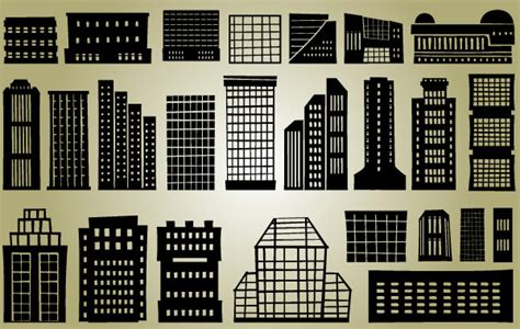 High Rise Set L high rise industrial silhouette buildings set welovesolo
