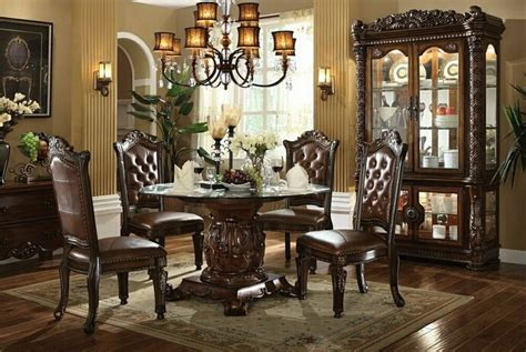 vendome traditional formal dining room cherry finish 6 pc vendome glass circular cherry finish dining table set