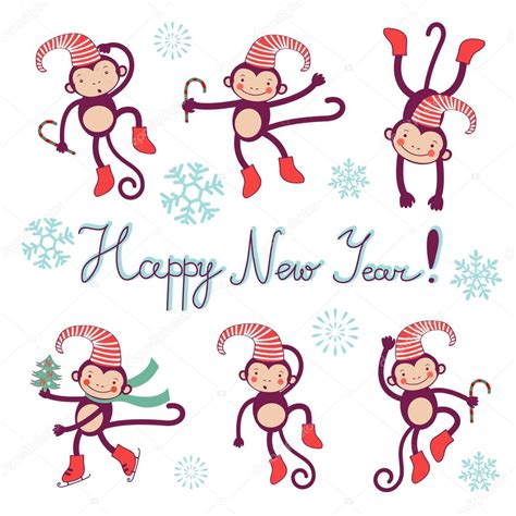 new year 2016 monkey symbol happy new year card with monkeys symbol of 2016 new year