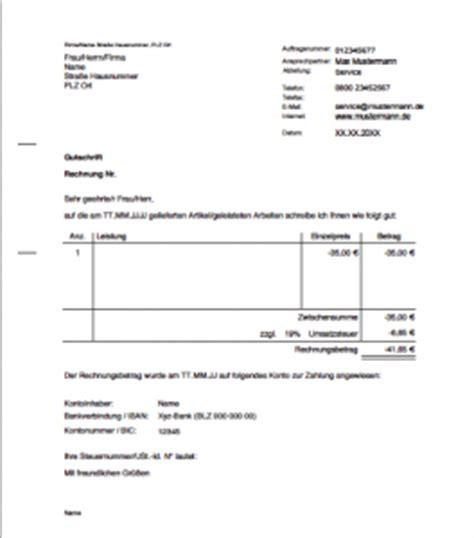 Rechnungskorrektur Gutschrift Muster Was Ist Eine Gutschrift