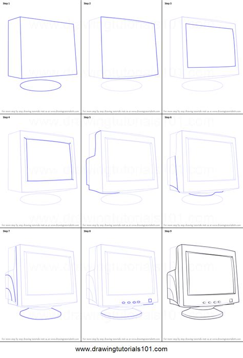 how to make doodle in computer how to draw a computer monitor printable step by step