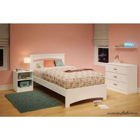 twin bed frame white south shore libra pure white twin bed frame 3860189 the home depot