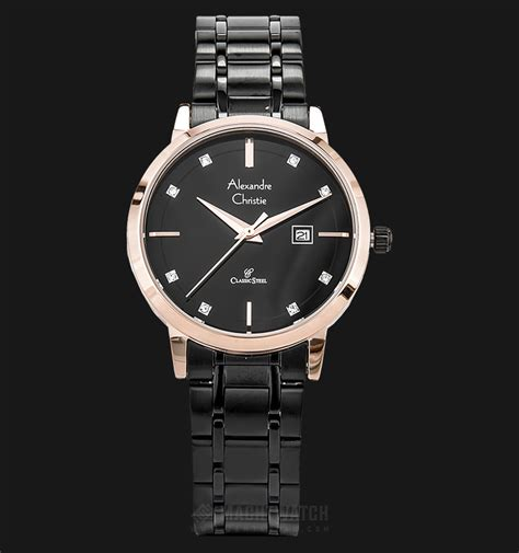 Alexandre Christie Ac 3030 Stainless Automatic Gold Black Original alexandre christie classic ac 8528 ld bbrba black gold stainless steel