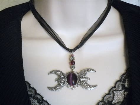 moon goddess necklace wiccan jewelry pagan jewelry