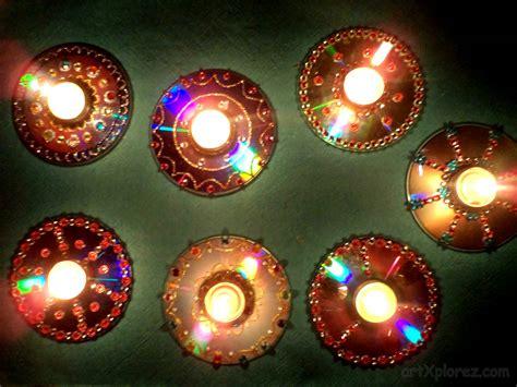 Deepavali Decorations Home by Decorative Diyas Oil Wax Lamps Using Waste Cd S Artxplorez