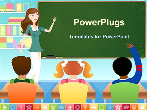 Powerpoint Template Teacher And Three Pupils In Classroom With Board And Books 10863 Classroom Powerpoint Templates