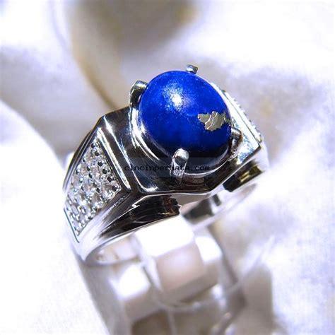 Batu Permata Blue Sapphire Cincin Silver 925 Lapis Emas Putih cincin batu mulia lapis lazuli elegance cincinpermata