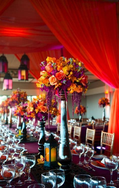 Would You Try These Moroccan Wedding Decoration Ideas At Purple And Orange Centerpieces For Weddings