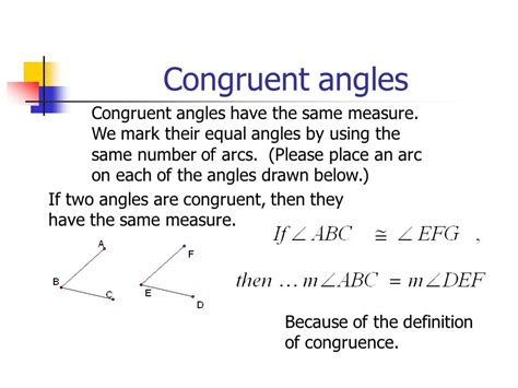 how do you indicate congruent angles in a diagram segment and angle relationships ppt