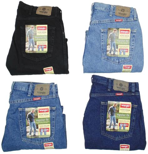 jean colors wrangler mens five regular fit many sizes many