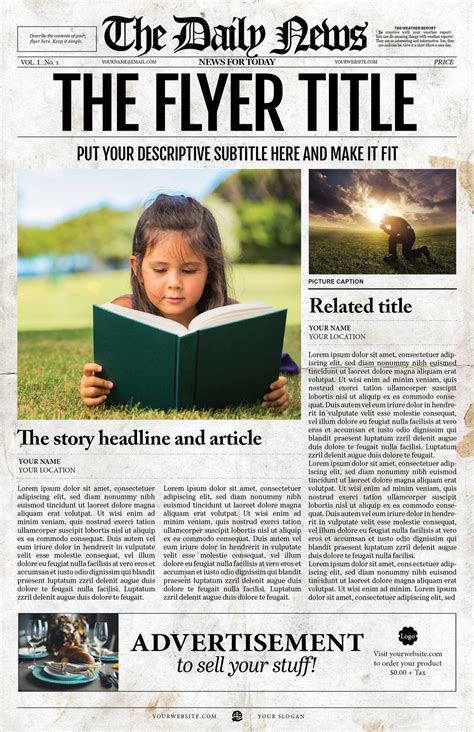 newspaper templates for adobe illustrator 1 page ledger size newspaper template for adobe