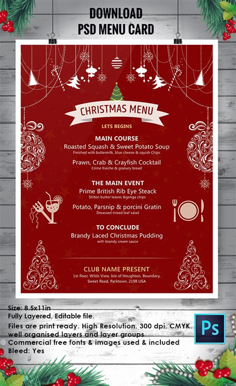 60 Christmas Flyer Templates Free Psd Ai Illustrator Doc Format Download Free Premium Menu Poster Template Free