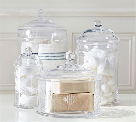 Glass Storage Jars Bathroom Pb Classic Glass Canister Pottery Barn
