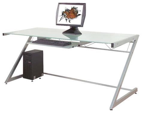 eurostyle z deluxe large desk in aluminum frosted glass