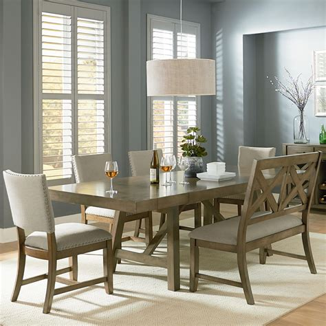 6 trestle table dining set with dining bench by