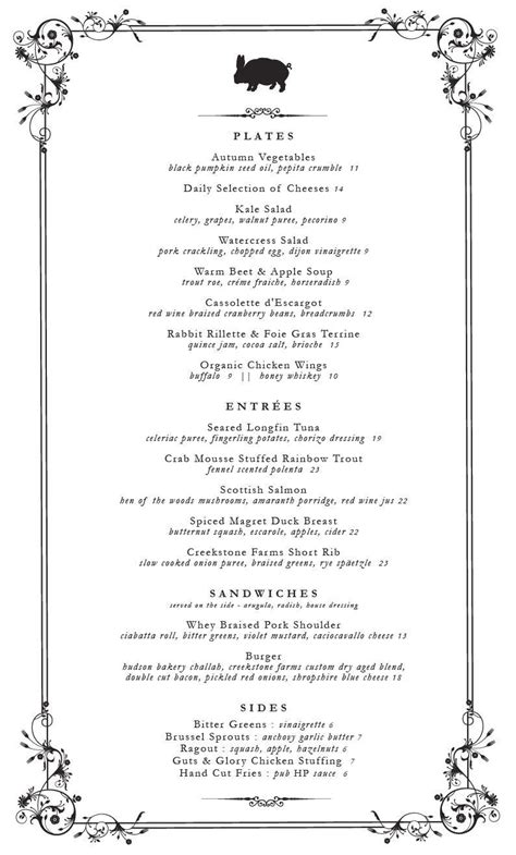 dinner menu template beepmunk