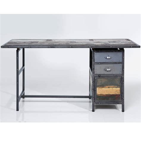 industrial distressed desk with drawers by i retro