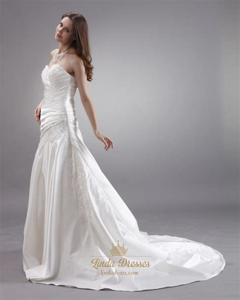 ivory strapless neckline ruched wedding dresses with
