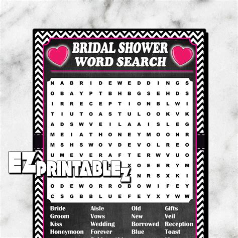 Bridal Shower Word Search by Printable Bridal Shower Word Search Printable