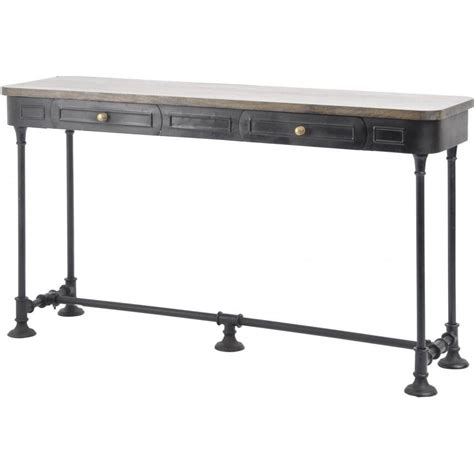 industrial style console table buy black metal console table with solid wood top from