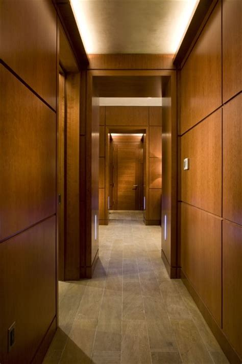 Hallway with cove light and LED steplights   Contemporary