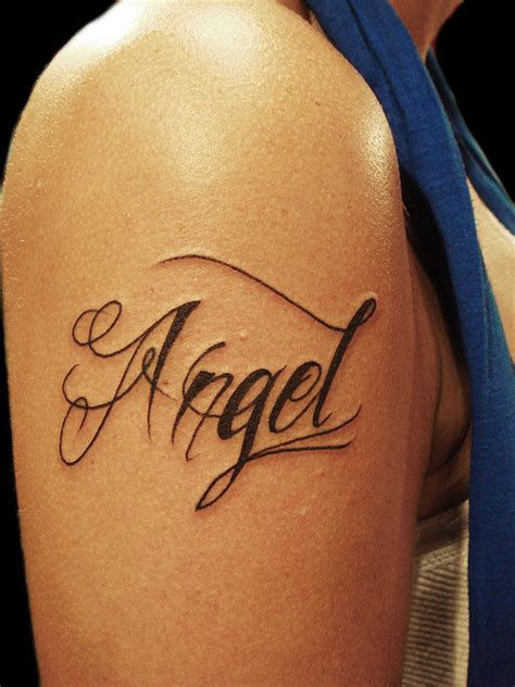 angel name tattoo designs bicep name ideas