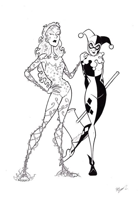 harley quinn and poison ivy coloring pages poison ivy and harley quinn by bevismusson on deviantart