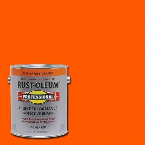 rust oleum professional 1 gal safety orange gloss protective enamel 7555402 the home depot