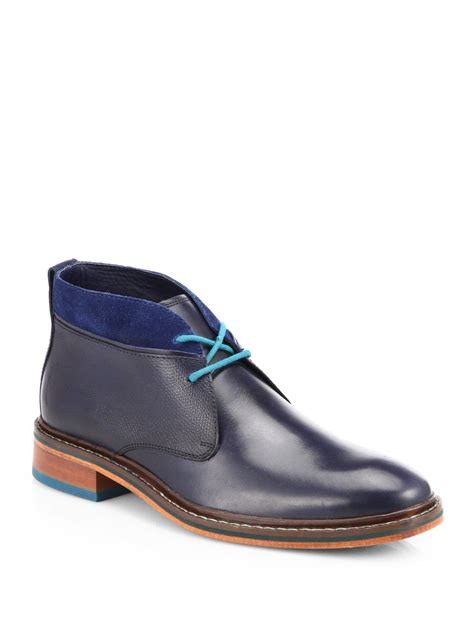 cole haan colton winter chukka boots in blue for navy